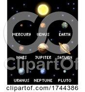 Poster, Art Print Of Solar System Planets 8 Bit Video Game Pixel Art