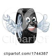 Tyre Cartoon Car Mechanic Service Mascot by AtStockIllustration