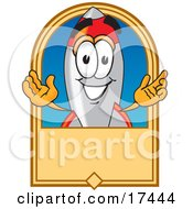 Clipart Picture Of A Rocket Mascot Cartoon Character On A Blank Tan Business Label Logo Or Sign by Toons4Biz