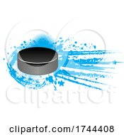 Hockey Puck With White And Blue Stars And Grunge