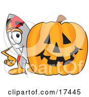 Clipart Picture Of A Rocket Mascot Cartoon Character With A Carved Halloween Pumpkin