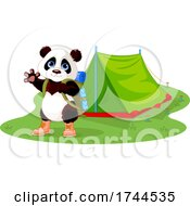 Cute Panda Waving And Wearing A Backpack By A Tent