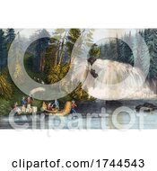 People With Boats At Falls Des Chats Or Chats Falls Ottawa River Canada by JVPD