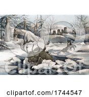 Moose Thinly Escaping The Hunt Of Wolves By Falling Through An Icy Lake
