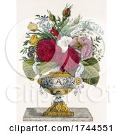 Ornate Vase With Colorful Flowers