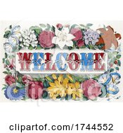 05/24/2021 - Vintage Welcome Design With Flowers On An Off White Background