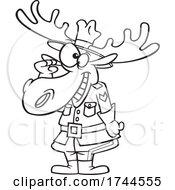 Cartoon Saluting Mountie Moose