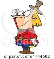 Cartoon Female Saluting Mountie