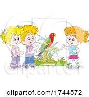 05/25/2021 - Children Admiring A Scarlet Macaw Parrot