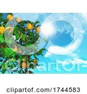 Poster, Art Print Of 3d Orange Tree On A Sunny Blue Sky
