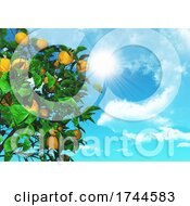 3D Orange Tree On A Sunny Blue Sky