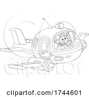 Boy Waving And Flying A Plane