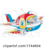 Boy Pilot Waving And Flying A Plane by Alex Bannykh