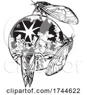 Poster, Art Print Of Woodcut Cicadas Infesting The Moon
