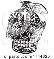 Woodcut Cicadas Over A Sugar Skull