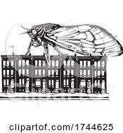 Woodcut Cicada On Top Of Row Houses