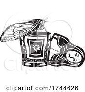Woodcut Cicada On A Russian Nesting Doll