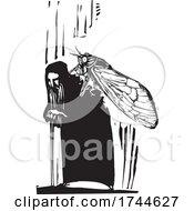 Woodcut Cicada On An Old Man