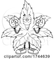 Cannabis Marijuana Pot Leaf Mascot Gesturing OK With Both Hands