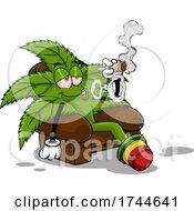 Cannabis Marijuana Pot Plant Mascot Smoking A Joint