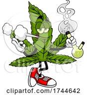 Cannabis Marijuana Pot Leaf Mascot Smoking A Bong