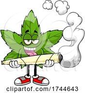 Cannabis Marijuana Pot Leaf Mascot Holding A Giant Doobie