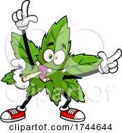 Cannabis Marijuana Pot Leaf Mascot Dancing And Smoking A Joint