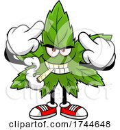 Cannabis Marijuana Pot Leaf Mascot Holding Up Middle Fingers And Smoking A Joint