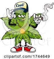 Cool Cannabis Marijuana Pot Leaf Mascot Smoking A Joint