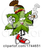 Rasta Cannabis Marijuana Pot Leaf Mascot Smoking A Joint