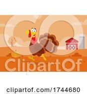 Poster, Art Print Of Happy Turkey Bird On A Farm In Autumn