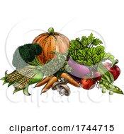 Vegetables Fruit Produce Food Illustration Woodcut