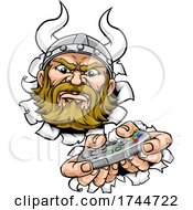 Poster, Art Print Of Viking Gamer Video Game Controller Mascot Cartoon
