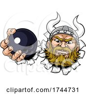 Poster, Art Print Of Viking Ten Pin Bowling Ball Sports Mascot Cartoon