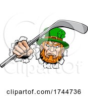 Leprechaun Ice Hockey Sports Mascot Cartoon