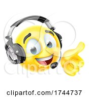 Poster, Art Print Of Cartoon Emoji Emoticon Face With Headset