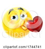 Poster, Art Print Of Kissing Heart Cartoon Emoticon Emoji Icon Face