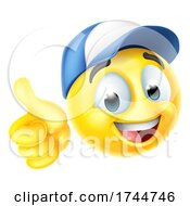 Poster, Art Print Of Cartoon Emoji Emoticon Face Wearing A Cap Hat