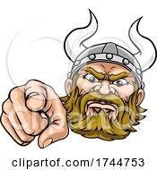 Poster, Art Print Of Viking Pointing Finger At You Mascot Cartoon