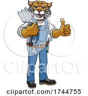 Wildcat Gardener Gardening Animal Mascot by AtStockIllustration