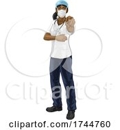 Doctor Or Nurse Woman In Scrubs Uniform Pointing