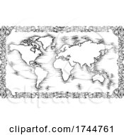 Poster, Art Print Of World Map Drawing Old Woodcut Engraved Style