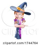 Kid Cartoon Girl Child Halloween Witch Sign