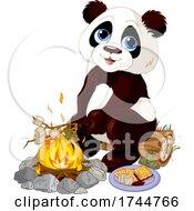 Cute Panda Roasting Marshmallows And Making Smores At A Campfire