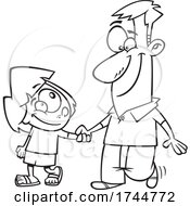 Cartoon Black And White Father And Daughter Holding Hands