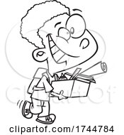 Cartoon Black And White Boy Packing Up His School Desk And Ready For Summer
