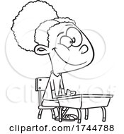Cartoon Black And White Girl Sitting At A Desk
