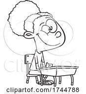 Poster, Art Print Of Cartoon Outline Girl Sitting At A Desk
