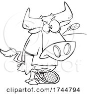 Cartoon Black And White Bull Playing Tennis With A Ball Bouncing Off Of His Head