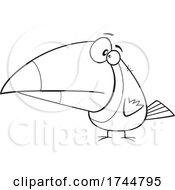 Cartoon Black And White Toucan